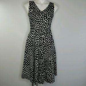 Dress Barn black and white v-neck polka dot dress